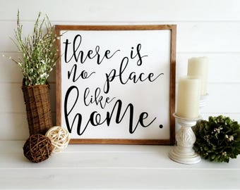 23x23 There is No Place Like Home Hand Painted Wood Sign: Chic Farmhouse, Rustic Decor, Wall Art, Home Decor, Housewarming Gift, Engagement