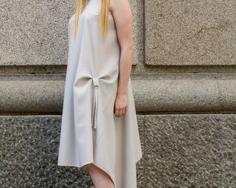White asymmetric bunched up midi dress | High low dress | Dress with hoops by Silvia Monetti