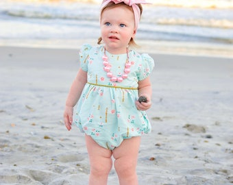 Girls bubble romper for Easter - bubble romper for toddler girls - baby romper - toddler romper - girls Easter romper - mint and gold romper