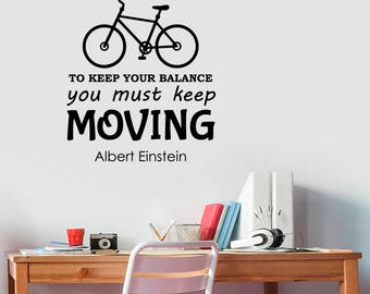Albert Einstein Quote Wall Decal Life Is Like Riding A Bicycle Inspirational Scientist Saying Sticker Vinyl Lettering Home Bedroom Decor eq1