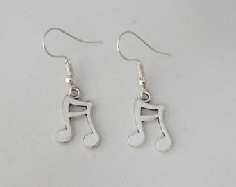 Double quaver earrings, musician earrings, music lover gift, music student gift, music teacher gift, music charm sterling silver earrings