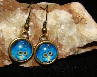 Cute Blue OWL Hook Earings