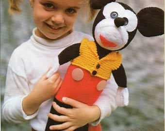 Doll Soft Toy Mickey Mouse Knitting Pattern  Instant Download PDF 16 ins 41 cms Double Knitting 8 Ply Worsted Weight