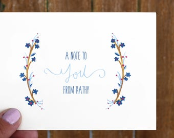 Blue & Red Floral Personalized Stationery Set / Custom / Handmade / Nice to Note You