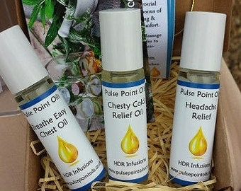Winter chills, chesty cold get well gift box. Cold Relief Rub, Breathe easy oil, Headache relief soother. Natural decongestant colds and flu