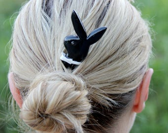 hair pin hair accessories for her Anniversary gift hair barrette Hair pin hair comb wood Hair Stick hair fork playboy bunny jewelry