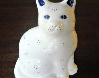 Vintage Porcelain Glazed Cobalt Blue and White Cat Figurine