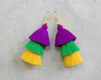 Wonderful Mardi Gras Tassel Earrings