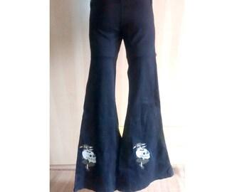 wide leg pants flares pants phat bell bottoms skulls