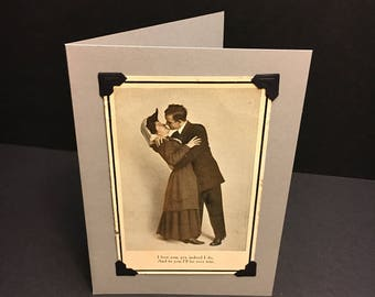 Upcycled blank romantic greeting card with vintage antique postcard/Valentine/photo of couple/1900s/recycled