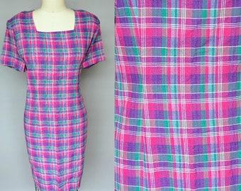 watermelons / multi color plaid cotton summer dress / 14 16 large xl