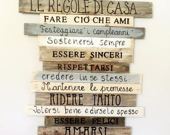 Written in wood House rules