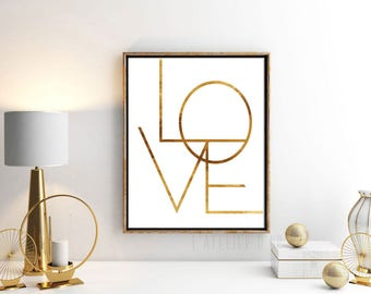 LOVE Typography - Gold Foil Print - Wall art - Room Decor -