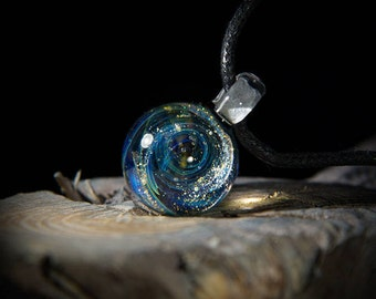 Green-blue nebula - pendant. Glass pendant. Lampwork galaxy pendant. Cosmic jewelry. Glass Galaxy jewelry. Glass space pendant.