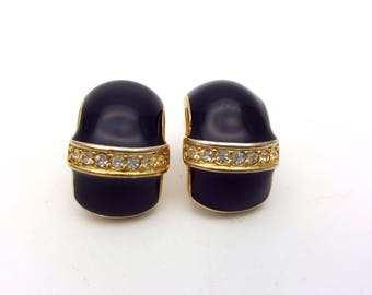 Vintage Clip on 60s Earrings Classic Black Enamel on Gold Tone Metal with Rhinestones Strand Modernist Mod Retro Classic Feminine Statement