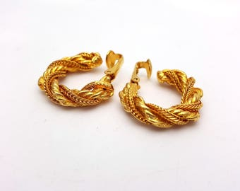 Vintage Clip on 80s Earrings Gold Tone Metal Hoop New Wave Industrial Modernist Modern Retro Fashion Runway Feminine