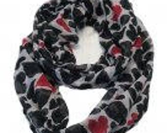 Pink and Black Heart Infinity Scarf