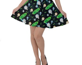 Rick and Morty Skirt - Short Skirt Pickle Rick Skirt Cosplay Skirt Comicon Skirt Plus Size Skirt Sci-fi Skirt Cartoon Skirt Oddity Apparel