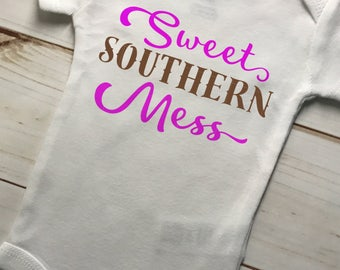 Sweet Southern Mess Bodysuit,Baby Little LiL Girl's One Piece,Girl Cowgirl Ranch,Bright Pink Brown Design,Outdoors Camping Clothes,Horses
