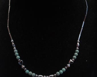 Vintage Handmade Southwestern Necklace of Green Turquoise, Hematite, and While Metal Beads, Possibly Silver