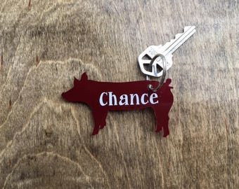 Pig Key Chain, Hog Key Chain, Show Pig Keychain, Farm Key Chain, Acrylic Pig, FFA Key Chain, 4-H Keychain, Key Chain, 4H, Livestock Show