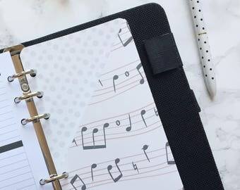 Musical Notes Pocket Folder | Planner Pocket | Pocket Divider | Pocket Dashboard - Personal Size