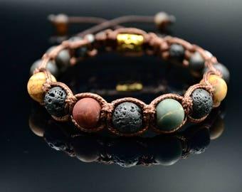 Men's Picasso Jasper Bracelet Gemstone Bracelet Lava Stone Bracelet Beaded Bracelet Matte Agate Bracelet Shamballa Bracelet Gift For Men