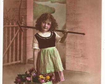 Delightful Little GIRL ,Vintage Real Photo Postcard,RAKE, Basket of Flowers, EAS ,1914