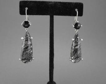 Unique Handmade Custom Design Sterling Silver Rutilated Quartz Black Onyx Earrings - Modern Design One-of-a-Kind Piece! #2469