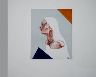 Acrylic painting on canvas Women painting on canvas Profile Portrait painting Women portrait Abstract painting Feelings Acrylic painting