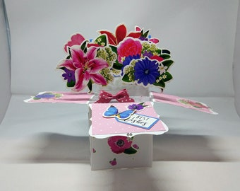 3D Pop Up Exploding Box Flowers & Butterflies Birthday Card - luxury personalised quality bespoke UK Mum/Daughter/Sister/Niece/Grandma