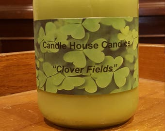 16 ounce coconut wax clover fields candle