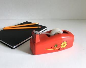 Vintage Retro Red Orange Floral Scotch Tape Dispenser Office Desk Supplies