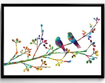 Two Birds on a Flowering Branch, Animal art, Colorful  Watercolor, Poster, Room Decor, gift, Print, Wall Art (219)