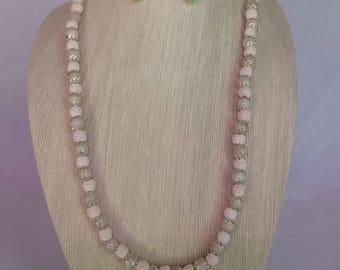 Opalite & Lava Necklace Earring set