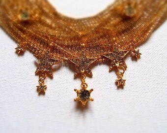 Gold Star statement necklace ~ multistrand choker collar bib crystal rhinestone piece ~ ball graduation prom special occasion wedding gift