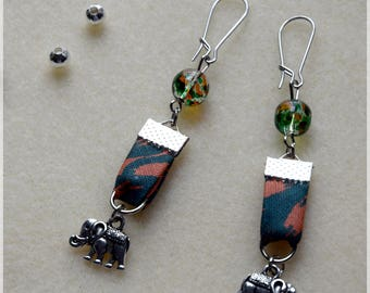 African fabric with elephants and beads earrings
