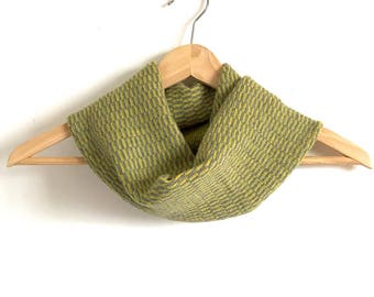 Pistachio and Grey Stripe Design Snood Cowl Knitted in Supersoft Lambswool