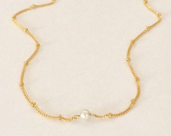 SALE! gold, pearl necklace; dainty, small, simple, delicate, tiny, satellite chain, beaded chain, bridal, wedding, bridesmaids, office