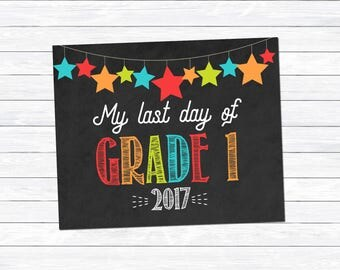 Boy's Last Day of Grade 1 Sign, Last Day of Grade One Print, Last Day of School Printable, End of School Sign, Instant Download, Digital