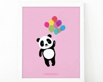 Panda floats with balloons, Panda Print, wall Art Print, Instant download, Nursery print, Kids Print, animal Nursery Decor, Balloons print