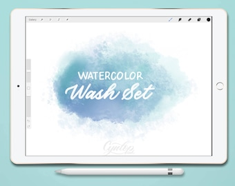 Procreate Brush Watercolor | Wash Brushes Only | Watercolor, iPad lettering,brush lettering, Procreate Brushes, Watercolor Brush, Brush Pack
