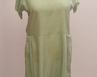 Original 1930's handmade dress in pale green with white trimming and collar.