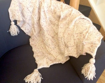 Unique hand knitted cream lap blanket with tassels