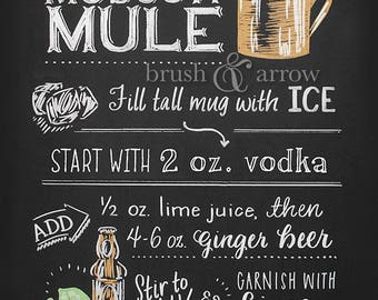 Moscow Mule printable, chalkboard style instant digital download