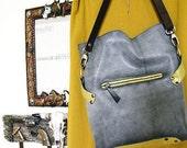 Gray crossbody leather bag Women's shoulder bag handbag Leather college bag Women's bag with strap Soft leather purse Long strap purse
