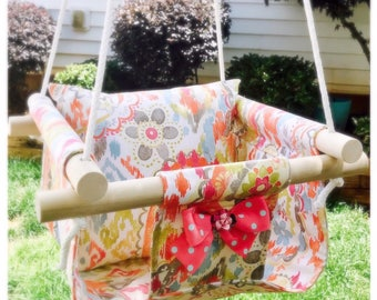 Infant and Toddler Nursery Swing, Indoor or Outdoor Fabric Swing with Matching Pillow