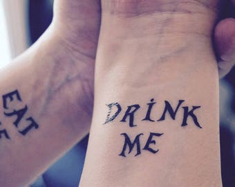"""Alice in Wonderland inspired """"Eat Me - Drink Me"""" temporary tattoo"""