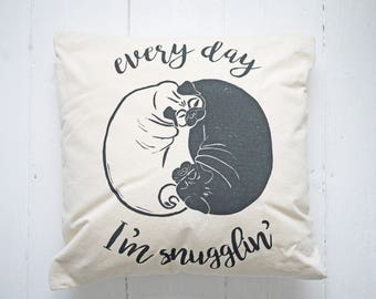 Pug Cushion Pug Print Cushion Hand Printed Lino Print Pug Gift Pug Lover /// Every Day I'm Snugglin'