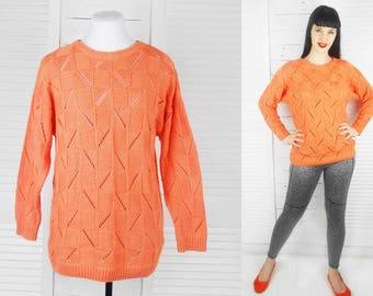 VINTAGE 80s Katies Peach Orange Knit Jumper Sweater